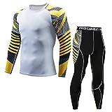 POIUDE Ausverkauf Herren Kompression Rüstung Fitness Laufen Sport Schnelltrocknende HeatGear Armour Unterhemd Set(Gelb, X-Large)