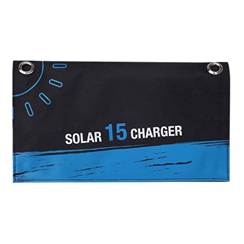 Providethebest 15W Dual USB Foldable Solar Charger Mobile Phone Charger Solar Power Bank Voltage Current Display for iPhone Samsung Tablet PC