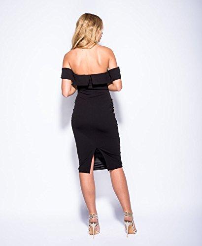 Mesdames Patterned Sequin Décolleté Midi Dress EUR Taille 36-42 Vert