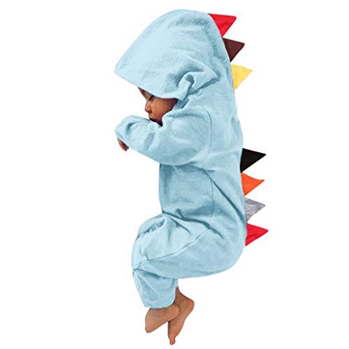 Markthym Neugeborenes Baby Mädchen Dinosaurier Stil Patchwork Strampler Overall Playsiut Langärmeliger Jumpsuit-Furzmantel im Dinosaurier-Stil mit Kapuze für - Neugeborenen Drachen Kostüm