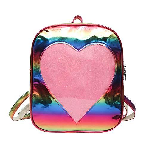 Faux Leder Herz (Art- und Weisetransparenter Herz-Laser-Faux-Leder-Frauen Spielraum-beiläufiger Rucksack Mehrfarben)