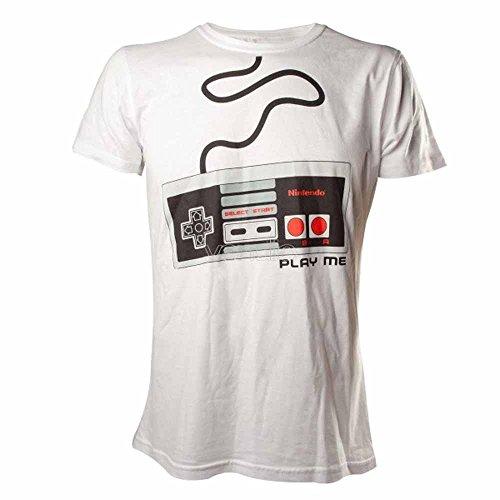 NINTENDO NES NES Controller - Camiseta Hombre, Blanco (White), Large