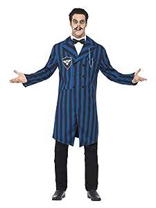 Smiffys Disfraz de Duque de los Vampiros, Azul y Negro, con Chaqueta, Falsa Camisa y paj