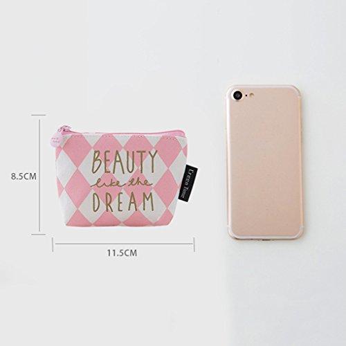 LUFA Sacchetto della borsa della borsa della moneta della cartella della moneta della borsa della moneta della tela di canapa della decorazione dentellare sveglia striscia obliqua