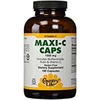 Country Life Maxi-C Caps 1000 Mg (with bioflavonoids, Rutin & Vitamin C , 180 Capsules by Country Life Vitamins