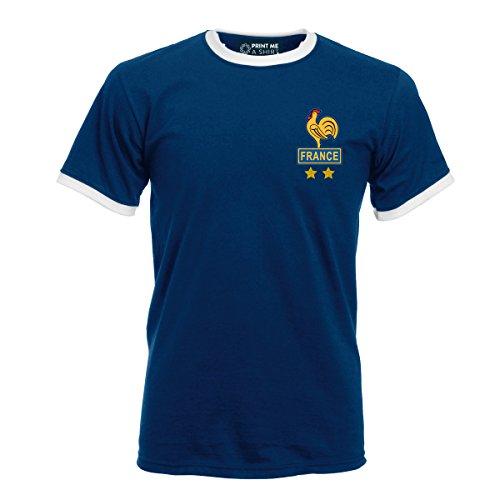 Printmeashirt para Hombre Platini Francia Retro Fútbol Camiseta, Unisex, Color Navy and White, tamaño Large