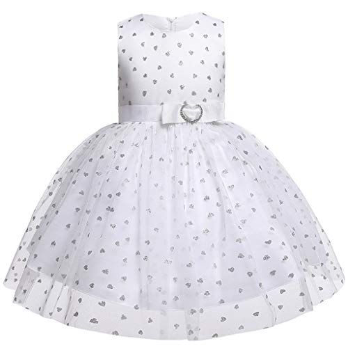 Livoral Baby Madchen Hairband Mädchen-Spitzebogenherzprinzessin-Hochzeitsshow-Kleiderkleidung der Kinder(Weiß,80)
