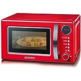 Severin MW 7893Rétro micro-ondes avec fonction grill 2en 1/36cm/700W/125ans anniversaire Edition/Rouge/chromé