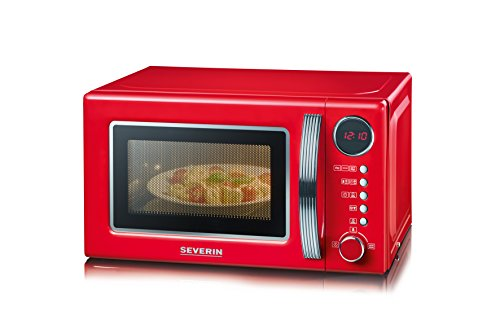 Severin MW 7893 Retro-Mikrowelle mit Grillfunktion 2-in-1 / 36 cm / 700 W / 20 L / 125 Jahre Jubiläums Edition / rot-chrom