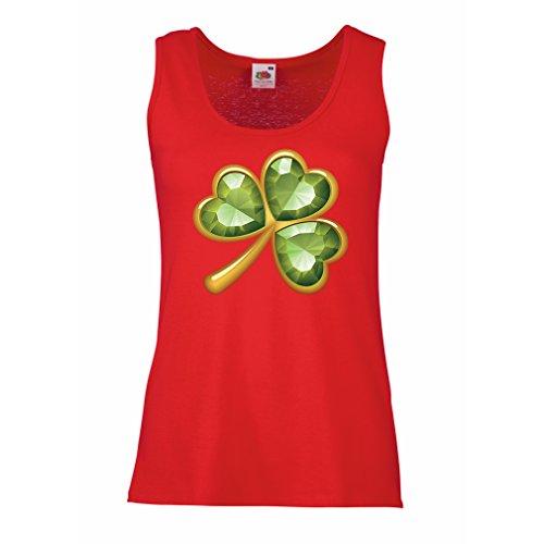 lepni.me Damen Tank-Top Irish shamrock St Patricks day clothing (Medium Rot Mehrfarben) (Top Tea Garden T-shirt)