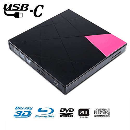 Fusutonus Externer Blu-Ray-DVD-Laufwerk, 4 K 3D USB 3.0, tragbarer Blu-ray- / BD- / CD- / DVD-Player, Brenner für Mac, Windows, Linxus, Laptop