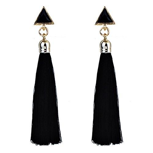 TAOtTAO Quaste Ohrringe Rot/Blau / Weiß/Schwarz Bohemian Women Ethnic Hanging Rope Tassel Earrings (Schwarz)