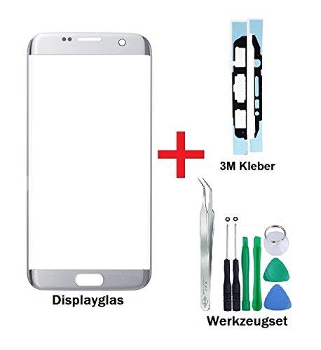 iTG® PREMIUM Displayglas Reparatur-Set für Samsung Galaxy S7 EDGE Silber (Silver Titanium) - Oleophobic Front Display Glas für Modell SM-G935F + Vorgeschnittene 3M Klebefolie und 8-Stück Werkzeug-Set