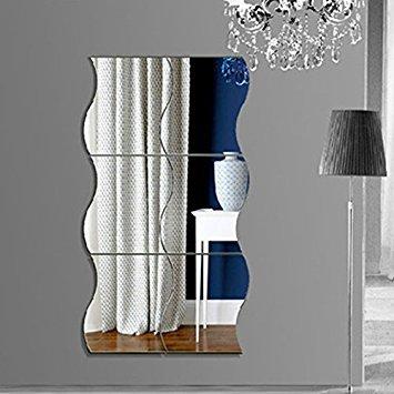 Kicode Adesivi da parete specchio 6pcs / set 3D fai da te rimovibile Combinazione donda Bricolage art Decorazione domestica della stanza da letto di