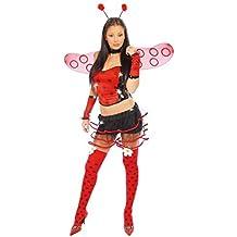 Mujer Sexy Mariquita Ladybird Animal Insecto Rojo Despedida De Soltera Disfraz 12-14
