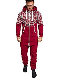 69c6a0294d H.eternal Mens Onesie Jumpsuit Hooded Zip Up All in One Playsuit Non Footed  Pyjamas