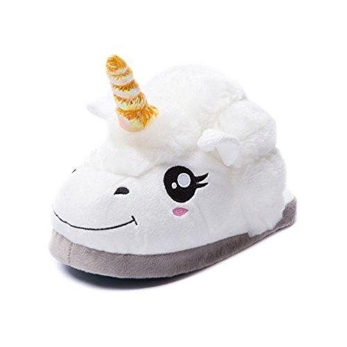 AFFINEST Scarpe accoglienti peluche pantofole Unicorn casa per le donne adulti / bambini regalo di Natale taglia unica (circa. Da 36 a 42)