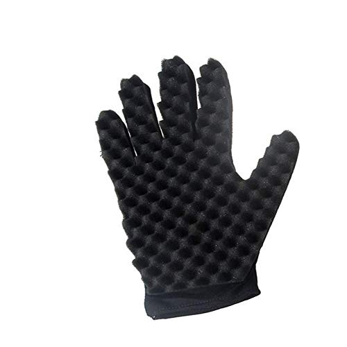 Bobopai Sponge Gloves Fashion Curls Coil Magic Tool Wave Barber Hair Brush Sponge Gloves Black (Right Hand) -
