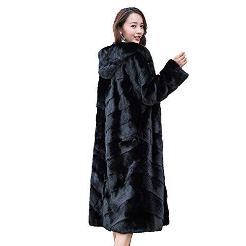 YRFDM Warmer Mantelm,110cm Länge Mäntel Jacke mit Kapuze Winter Echte Frauen Oberbekleidung Mäntel Plus Size 4XL 5XL 2
