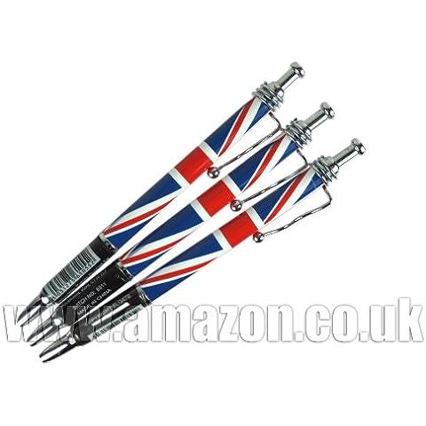 Union Jack Ballpoint Pens (3) - London Souvenir Wavy Clip Pens - 61055