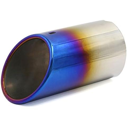 Sourcingmap-70mm entrada Burn Slant Cut coche sistema de cola de escape Silenciador Tubo punta de corte recto