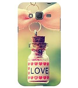 Chiraiyaa Designer Printed Premium Back Cover Case for Samsung Galaxy J3 (boy girl friend valentine miss kiss bottle heart hanging) (Multicolor)