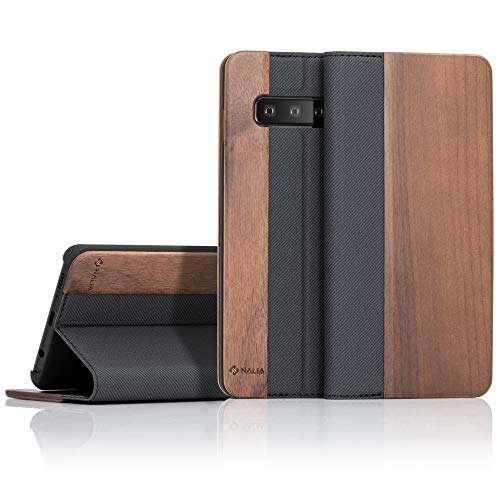 NALIA Echt-Holz Klapphülle kompatibel mit Samsung Galaxy S10, Handmade Phone Case Handyhülle Natur-Holz Hülle Handy-Tasche Etui Flipcase, Dünnes Kunst-Leder Wood Book Cover Bumper, Farbe:Walnuss