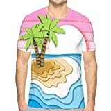 Unisex Summer Graphic Print Tshirt Summer Vacation Concept Tropical Island Sand Beach sea Ocean Waves Sunset Sky Paper Cut Out Style Pretty