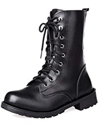 uirend Zapatos Botas Mujer - Martin Boots Cordones Estilo Militar Combate Botines (Los Zapatos Son