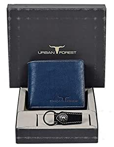 Urban Forest Leather Wallet Combo for Men - Classic Blue Men's Leather Wallet and Black Keyring Combo Gift Set for Men