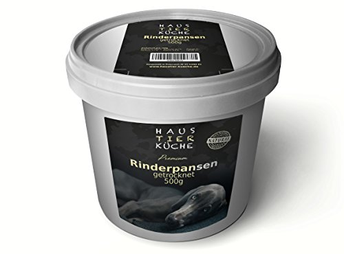 Haustier-Küche® Premium getrockneter Rinderpansen für Hunde | Natur Kauspezialität in Anti-Geruchs Eimer + Kräuterfibel für Hunde als E-Book