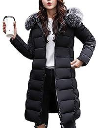 HANMAX Manteau de Coton Réversible avec Capuche Fourrure Fausse Doudoune  Femme Longue Hiver Chauden Duvet de 585d115da82f