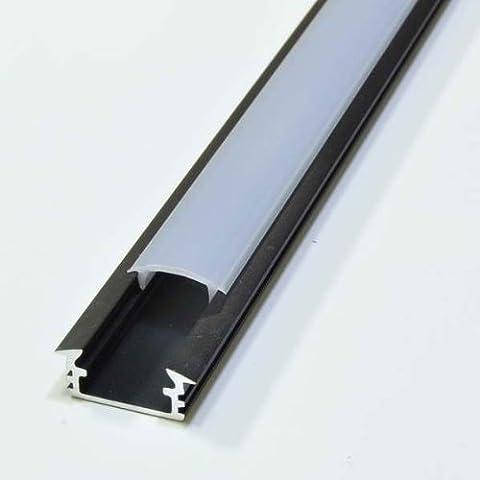 Alu Profil Aluminium Schwarz Eloxiert 2m Opal P1 für LED Streifen