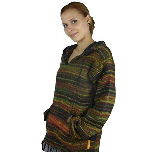 Felpa con cappuccio felpa giacca maglia maglietta maglione felpa zip con cappuccio Hippie Goa Psy cappuccio cotone Donna Akasha rasta S/M