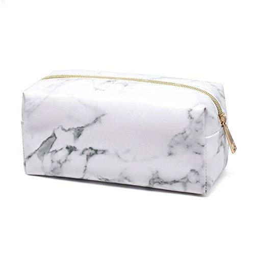 Todaytop Marmor PU Leder Kosmetiktasche Große Kapazität Portable Damen Reise Make-up Pinsel Tasche Gold Reißverschluss Aufbewahrungstasche Rechteck Marmor Muster Tasche Weiß-Quader
