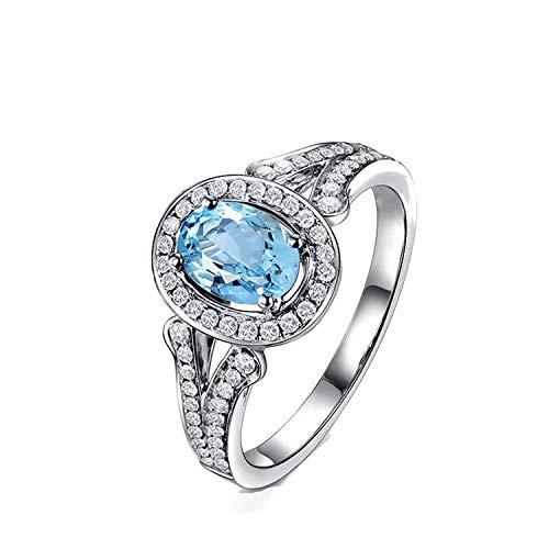 56439c827cb1 AmDxD Joyas Plata de Ley 925 Anillos de Compromiso para Mujer Azul Corte  Ovaladoado Topacio Ovalado