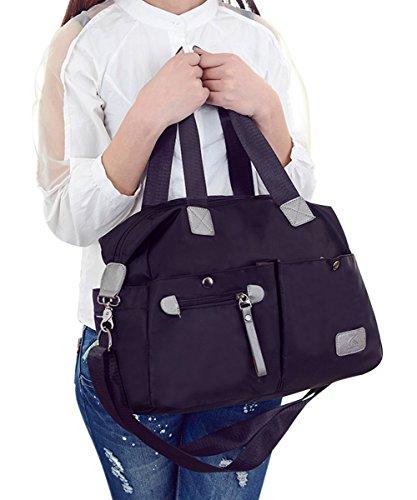 PB-SOAR Damen Herren Nylon Wasserdichte Schultertasche Umhängetasche Handtasche Sporttasche Reisetasche (Schwarz) Schwarz