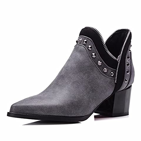 Big size women's shoes, European and American pointed bare boots, metal zippers, and short boots,Grey (Terry),37