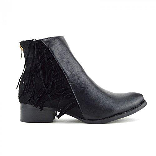 Calzature con tacco basso, da donna, modello Kick-Stivaletti Chelsea alla caviglia (Black Fringe)