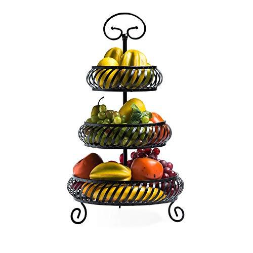 Moolo Obstschale Obstteller Eisenkunst Früchtekorb Mode Obstschale Haushalt Küche Lagerregal 3-lagiger Trockenfrüchteteller Obstteller