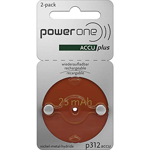 PowerOne ACCU plus Size 312 Rechargeable Hearing Aid Batteries