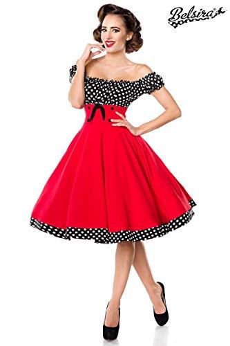 Belsira schulterfreies Swing-Kleid - rot/schwarz/weiss, Größe:L - Unisex-kleid