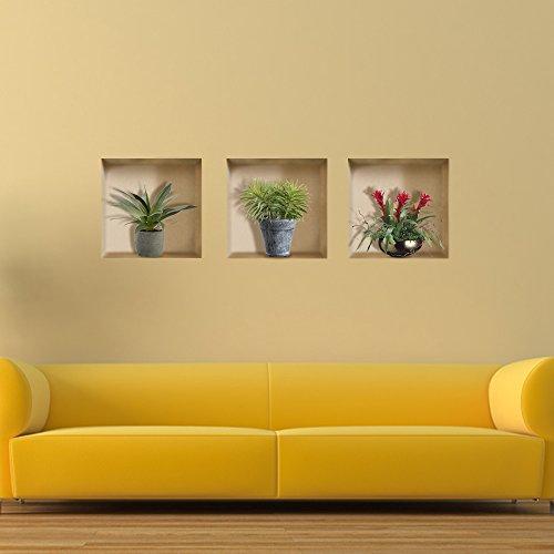 3D Reiten Gitterwand Aufkleber Pag Abnehmbar Wand Kunst Gitter Aufkleber Home Decor Geschenk (Wand-kunst-aufkleber Pflanzen)