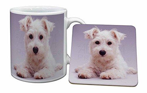 Advanta - Mug Coaster Set West Highland Terrier-Hund Becher und Untersetzer Tier Gesche -