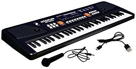 SUPER TOY 61 Keys Piano LED Display Keyboard Toy with Recording,Mic & Mobile Charger Power Option