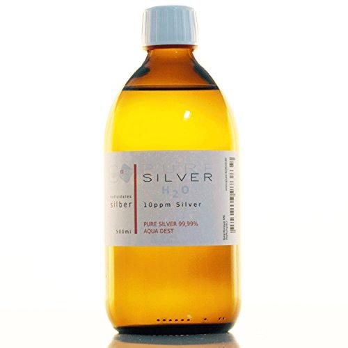 1 bottiglia (500 ml/10 ppm), argento colloidale, 99,99% argento