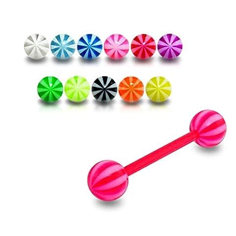 10 pièces Mix couleur Pack plage fantaisie UV Ball avec barre de langue Flexible de 14MM