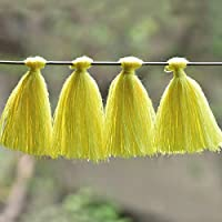 Embroiderymaterial Bordado de borlas de algodón para Hacer aretes y decoración, Color Amarillo limón (