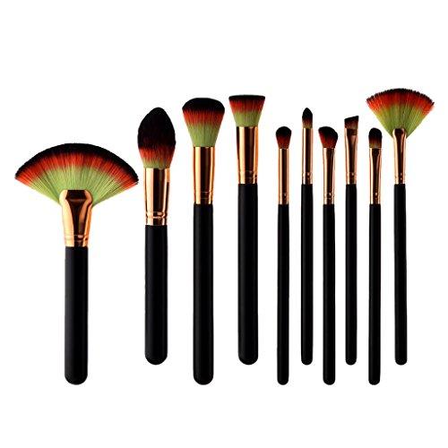 Sharplace Set 10pcs Professionnel Pinceaux Maquillage Complet, Brosse Cosmétique à Fondation du Visage, Contour Yeux, Fard à Paupières.