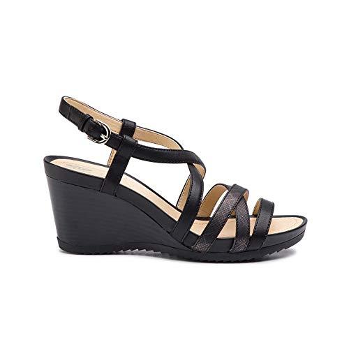 Geox scarpe da donna sandali d new rorie b in pelle nera d92p3b-05404-c9999